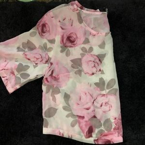 Sheer flower crop top shirt